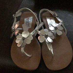 Silver flower sandals size 8